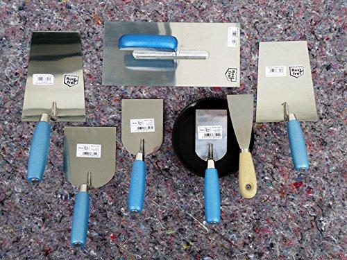8 teiliges Maurer Glättekelle Spachtel Set mit Gipsbecher zum Aufziehen und Glätten von Mörtelputzen und für Spachtelarbeiten. Handwerker Qualität aus rostfreiem Edelstahl