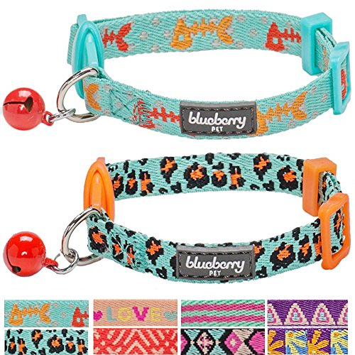 Blueberry-Pet-Collars-for-Cats-PU-Nylon-webbing-Adjustable-Breakaway-kitten-Cat-Collar-with-Bells-Packaging-Vary-1-Pack-2-Pack