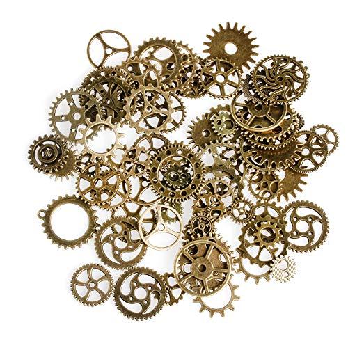 FXCO Eine Packung DIY 100g Mix Legierung Kunststoff Getriebe Antike Steampunk Zahnräder Zahnräder Uhr Hand Charme Anhänger (Bronze) (Uhren Antike Hand)