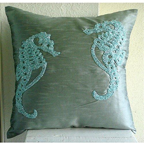 Sea Horse - european-square Ein blauer Seiden Euro Sham Kissenbezug mit Perlen verziert -