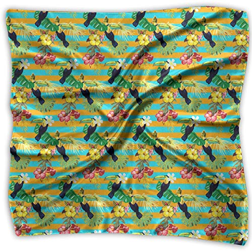 Pizeok Womens Girl's Hawaiian Billbill and Palm Leaves Print Square Kerchief Scarf Head Wrap Neck Satin Shawl