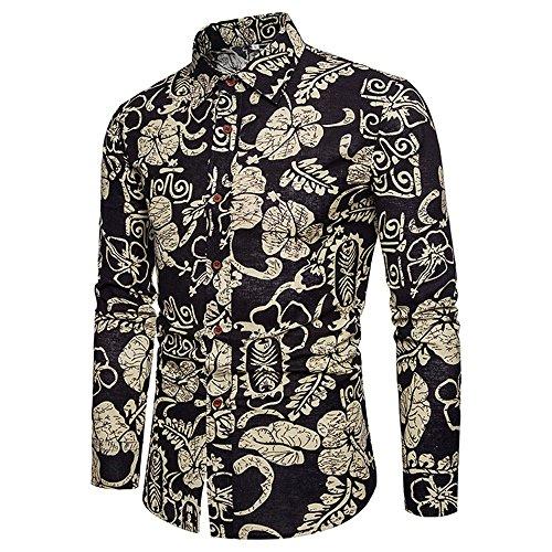 UJUNAOR Männer Casual Langarm-Shirt Business Slim Fit Bluse Oktoberfest Herren Top Hosen Set M bis 5XL(Schwarz,CN L)