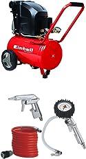 Einhell Kompressor TE-AC 270/24/10 (1,8 kW, 24 L, Ansaugleistung 270 l/min, 10 bar, ölgeschmiert, große Räder und Haltebügel) + Druckluft Set, 3-teilig passend für Kompressoren (4 m Spiralschlauch)