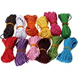 Leorx Cordón de algodón encerado, 12colores, 10m, 1mm, cuerdas para artesanías, para Hacer Collar, Pulsera (color al azar)