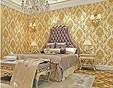 Poowef Wallpaper Goldgelb Europäischen Relief Tapeten Schlafzimmer Wohnzimmer Tv Hintergrund Hotel Beauty House Club Große Blume Wallpaper, 0,53 X 10 M, Ein