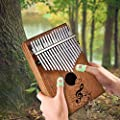 Kalimba Thumb Piano 17 Keys Portable with Instruction and Tune Hammer, Kalimba 17 Storage Bag, Engraved Notation, Kalimba Music Book, Gift for Music Enthusiast, Beginners and Children