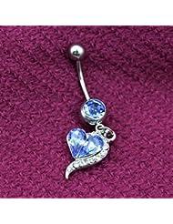 VANKER 2x Rhinestone del corazón Haltera vientre del ombligo barra de botones suena la joyería Piercing del cuerpo--Azul