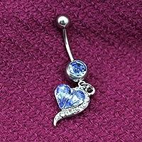 VANKER 2X Rhinestone del corazón Haltera Vientre del Ombligo Barra de Botones Suena la joyería Piercing del Cuerpo-Azul