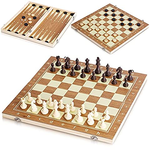 3 IN 1 WOODEN BOARD GAME SET COMPENDIUM TRAVEL GAMES