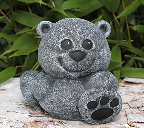 Steinfigur Teddy-bär klein Schiefergrau, Deko Figur