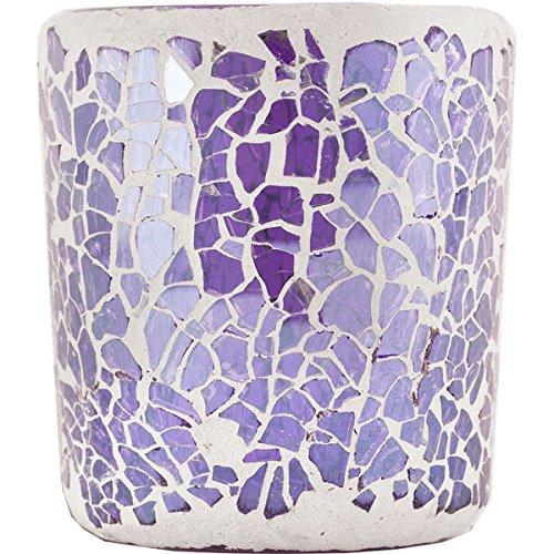 Glass Smash Mosaic Votive Holder - Lilac