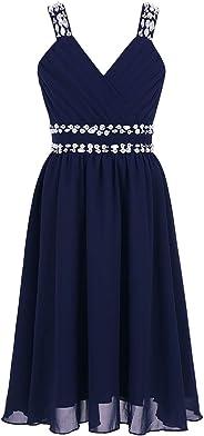 CHICTRY Mädchen Kleider Prinzessin Kleid Hochzeit festlich Lange Partykleid Abendkleid Festkleid Blumenmädchenkleid Gr. 104 1