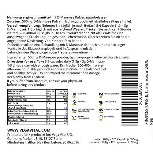 61QTr vDtAL. SS500  - D-Mannose + Zinc Vegavero® | Highest Dosage: 2000mg | No Additives | Natural Support | 120 Capsules | 100% Vegan
