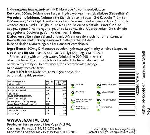 D - Mannosio + Zinco Vegavero | 120 capsule vegetali da 500 mg - Naturali SENZA MAGNESIO STEARATO | Estratto dal Mais – Purezza < al 99% certificata – Vegan e privo di Glutine | Integratore Naturale contro la Cistite e infezioni del tratto Urinario | Senza Allergeni e con Certificato di Qualità