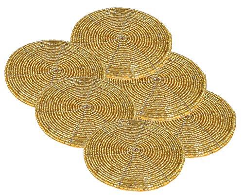 Coaster Set (6er Set Untersetzer Gold Perlen Klein Handarbeit Geschenk Indische Dekoration Durchmesser - 10 cm)