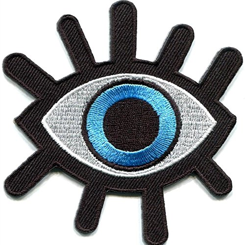 Preisvergleich Produktbild coolpart 2Pcs New Eye Auge Tattoo Wicca geheimnisvollen Gothic Punk Retro bestickte Applikation Bügelbild Biker Weste Patch Perfekte Patches
