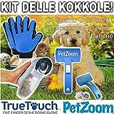 TrAdE Shop Traesio - Kit delle Coccole True Touch + PETZOOM + ASPIRAPELI per LA Pulizia Cani E Gatti