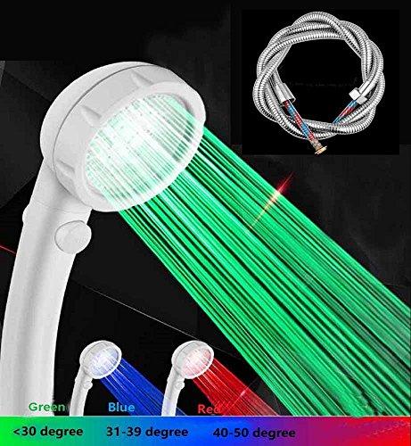 KCHKUI-UK Duschkopf Set - Hochdruck Ionen Handbrause mit Schlauch - Wasser sparend Temperaturkontrolliert Automatisches Licht LED 7 Farbwechsel - Entfernt Chloramin & Unreinheiten und Regenerieren Haut und Haar (Shower filter with stretchable hoses)