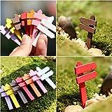 MYLL 1 Stücke DIY Bunte Künstliche Miniatur Holz Handwerk Straßenschild Gartengeräte Wegweiser Kunst Geschenk