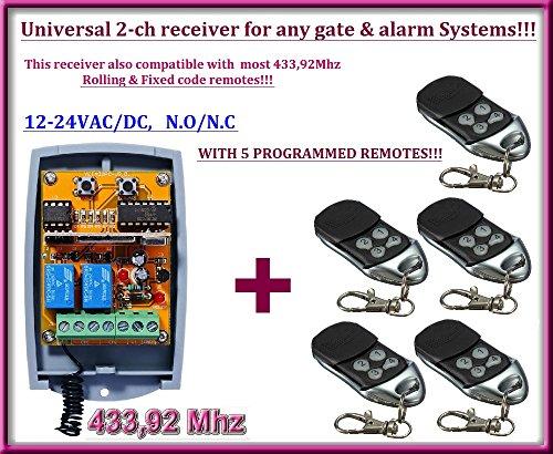 Universal 2-canales + Empfänger 5Fernbedienungen destancia, für jede Automatismus von Garagentor/Alarm-System/Einige Andere Geräte 12-24V DC, 433,92MHz NO/NC (Alarm Remote Code Control)