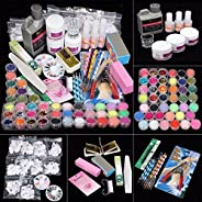 42 Acrylic Nail Art Tips Powder Liquid Brush Glitter Clipper File Set Kit 40ml