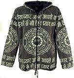 Guru-Shop Goa Jacke, Ethno Hoody mit Mantra Druck, Herren, Steingrau, Size:M, Jacken, Ponchos Alternative Bekleidung