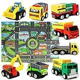 Mini Modèle de Voiture Ensemble de Jouets de camions avec Tapis de Jeu pour les...