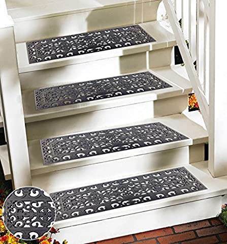 Ehc Victorian Wrought Iron Effect Outoor Or Indoor Non Slip Rubber Step Door Mat - 75cm x 25cm