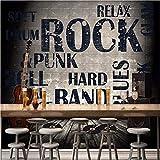 Weaeo Fototapete Europäischen Amerikanischen Industriellen Stil Zement Wandbild Rock Gitarre Bar Café Hintergrund Wand