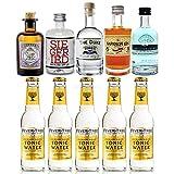 Gin Tonic Probierset - 5x Verschiedene Gin Sorten je 5cl + 5x Fever-Tree Tonic Water 200ml