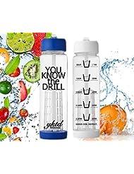 Motivation Infuseur à fruits Bouteille d'eau avec paille ~ Grande ~ Plusieurs couleurs avec marquages de fois ~ hydratation Santé Fitness Gym Yoga Cyclisme