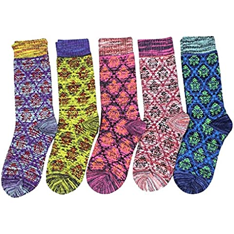 Gillbro mujeres 5 pares de calcetines cómodos suaves calientes de la tripulación
