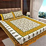 Ahmedabad Cotton Basics Jaipuri Collection 136 TC Cotton Double Bedsheet with 2 Pillow Covers - Floral, Cream and Mustard Green