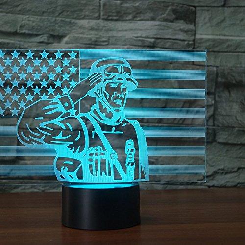 (3D flagge soldaten Nachtlampe 7 Farben ändern Touch Control LED Schreibtisch Tisch Nachtlicht mit bunten USB Powered für Kinder Kinder Familie Ferienhaus Dekoration Valentinstag Geschenk)