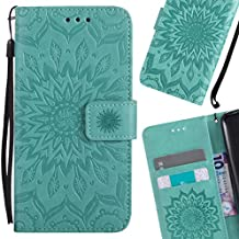 LEMORRY Huawei Honor Holly 3 / Y6 II Funda Estuches Cuero Flip Billetera Bolsa Piel Protector Magnética Cierre TPU Silicona Carcasa Tapa para Huawei Y6 II, Flor Verde