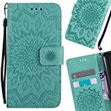 LEMORRY Microsoft Lumia 550 Case Leather Flip Wallet Pouch Slim Fit Bumper Protection Magnetic Strap Stand Card Slot Soft TPU Cover for Microsoft Lumia 550, Blühen Grün