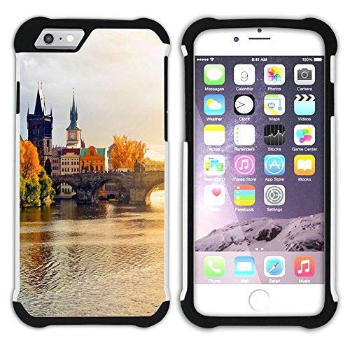 Graphic4You Prag Tschechische Republik Postkarte Aussicht Hart + Weiche Kratzfeste Hülle Case Schale Tasche Schutzhülle für Apple iPhone 6 Plus / 6S Plus Design #1
