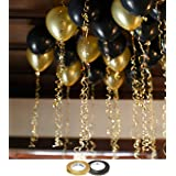 AMFIN Metallic Balloons for Birthday Decoration,10inch(Golden and Black)-Set of 50pcs