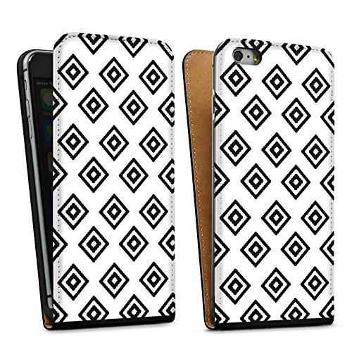 Apple iPhone 5s Housse Outdoor Étui militaire Coque Losanges Ethnique Noir et blanc Sac Downflip noir