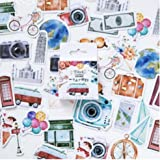 TOSSPER 46 Pcs Nouveau Voyage Autocollant Bricolage Rétro Stickers Voyage pour Diary Scrapbooking Décor adhésif Mémo Papeteri