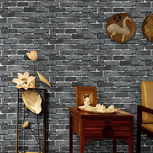 FAHOME Hintergrundbild Retro Chinese Tea House Ziegel Tapete 3D Brick Wall Tapete Restaurant Shop Dekoration Engineering Wallpaper, D