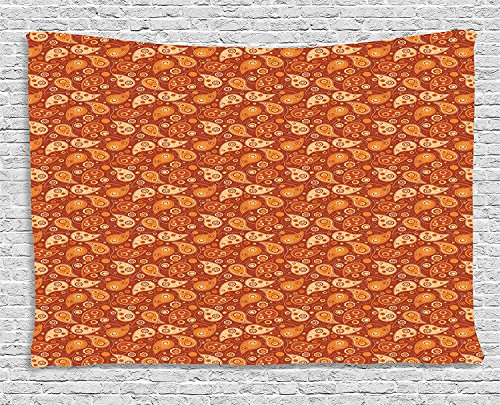 MLNHY Orange Tapestry, Retro Style Pattern with Paisley and Flowers Stylized Ornate Leave Figures, Wall Hanging for Bedroom Living Room Dorm, 80 W X 60 L Inches, Redwood Orange Cream Paisley-satin-band