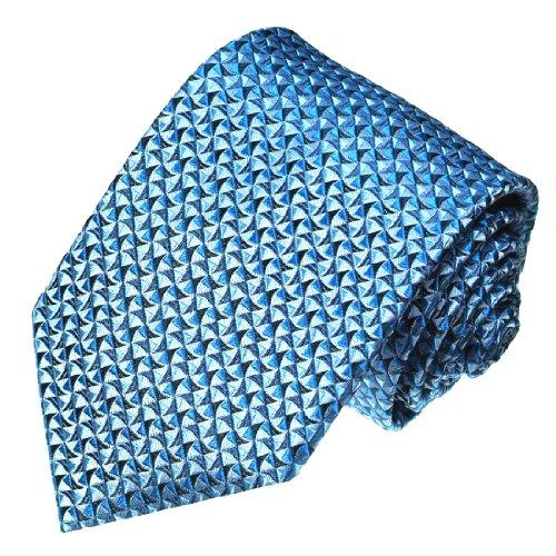 LORENZO CANA - Marken Krawatte Blau Hellblau - Handgefertigt aus 100% Seide - 84076