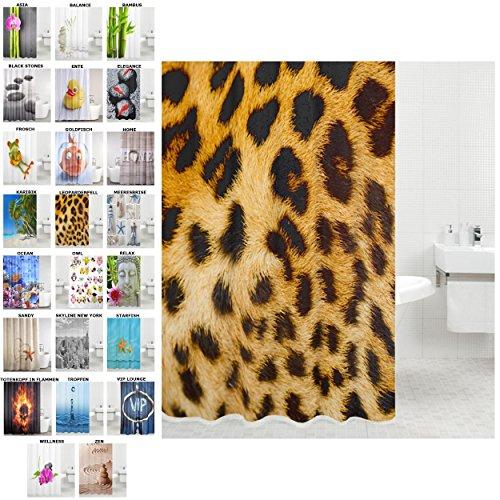 Duschvorhang, viele schöne Duschvorhänge zur Auswahl, hochwertige Qualität, inkl. 12 Ringe, Anti-Schimmel-Effekt (Leopardenfell, 180 x 200 cm) (Leopard Badewanne)