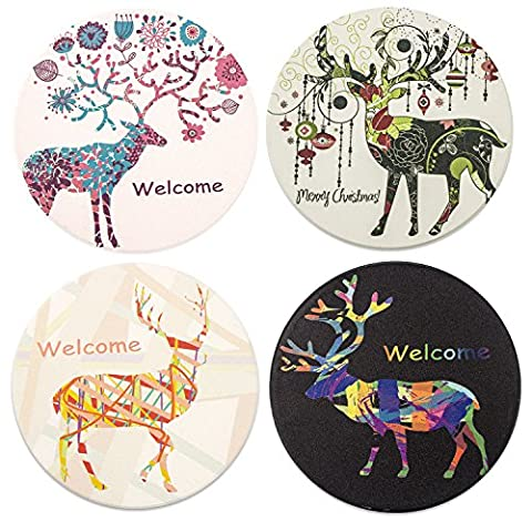 Gorgeous Printing Absorbent Ceramic Coasters 4 Pieces of a Set- Elk Patterns