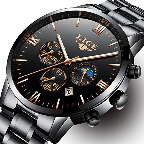 Herren Sport Uhren, wasserdicht, mit Chronograph Datum Kalender, Herren Luxus Business Fashion Analog Quarzuhr Edelstahl schwarz Armbanduhr