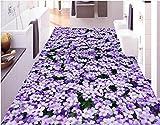 LWCX Pavimento In Pvc Adesivo Custom 3D Piano Sfondo Foto Fiori Viola 3D Murale Pavimento Pvc Sfondi Per Soggiorno 150X105CM