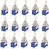 CESFONJER 15 stuks mini-tuimelschakelaar, blauw 125 V 6 A ON-Off 3 pins 2 positie marinevoertuig tuimelschakelaar, instrument