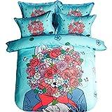 YGMDSL Bettfutter 4-teiliges Set Baumwolle Wolf und Blumen (1 Bettbezug 1 Bettlaken 2 Kopfkissenbezüge),220 * 240cm