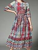 Xiaoyueyue Trapèze Mousseline de Soie Robe Femme Vacances Bohème Sophistiqué,Fleur Col Arrondi Midi ½ Manches Rouge Polyester PrintempsTaille